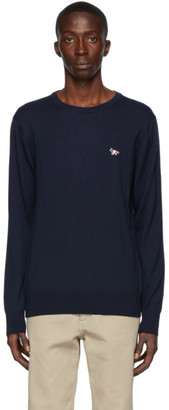 MAISON KITSUNÉ Navy Wool Tricolor Fox Sweater