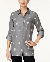 Style&Co. Style & Co. Petite Star-Print Denim Shirt, Only at Macy's