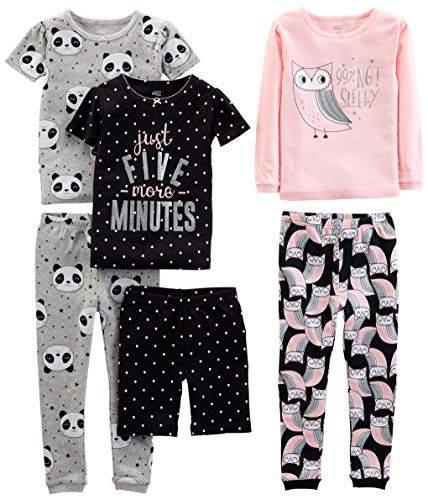 Carter's Simple Joys by Girls' 6-Piece Snug Fit Cotton Pajama Set