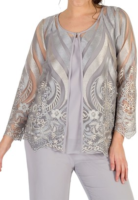 Chesca Embroidered Mesh Jacket, Soft Grey