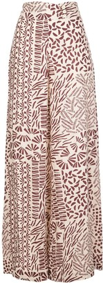 Alexis Neassa abstract-print flared trousers