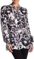Parker Mock Neck Button Down Floral Print Silk Blouse