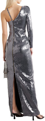 Roland Mouret Delamere One-sleeve Draped Sequined Gown
