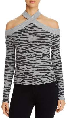 Red Haute Animal-Print Cold-Shoulder Sweater