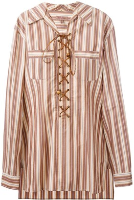 Romeo Gigli Pre Owned Lace-Up Striped Tunic Shirt