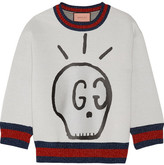 Gucci Metallic-trimmed Printed Neoprene Sweatshirt - Light gray