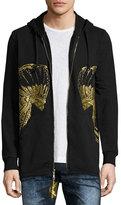 Robin's Jeans Gold Headdress Zip-Up Hoodie, Black
