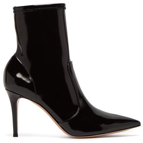 Gianvito Rossi Imogen 85 Patent Leather Ankle Boot - Womens - Black