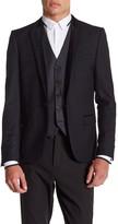 The Kooples Single Button Velvet Trim Suit Jacket