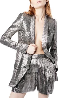Smythe Metallic Shawl-Collar Long Blazer