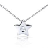 Kobelli Jewelry Brilliant Round Cut Diamond 14K White Gold Solitaire Star Pendant Necklace
