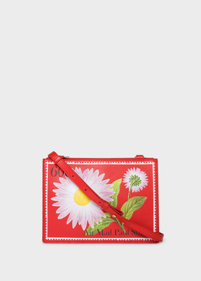 Women's Red Leather 'Stamp' Print Cross-Body Bag