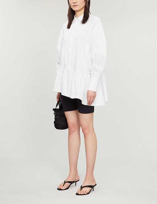 Topshop Asymmetric tiered cotton-poplin shirt