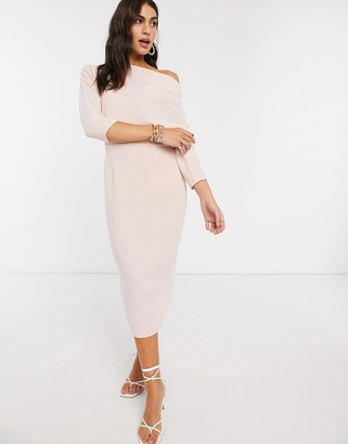 ASOS DESIGN fallen shoulder midi pencil dress in blush