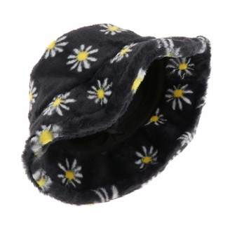 Hellery Teens Girls Adults Women's Bucket Hat Cute Faux Fur Flowers Print Fisherman Hat Winter Warm Hat Cap Wide Brim Fisherman's Caps - black