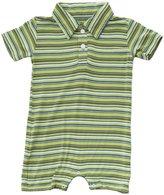 Kickee Pants Print Polo Romper (Baby) - Island Boy Stripe-3-6 Months