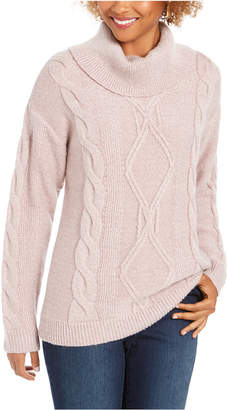 Charter Club Cowl-Neck Cable-Knit Glitter Sweater