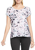 Vince Camuto Rolled-Short Sleeve Dreamy Reflections Burnout Tee