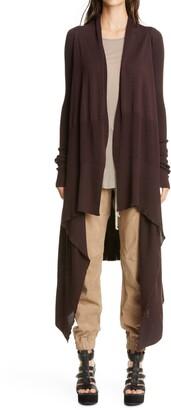 Rick Owens Long Asymmetrical Wool Cardigan