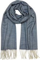 Mila Schon Herringbone Cashmere, wool and Silk Fringed Long Scarf