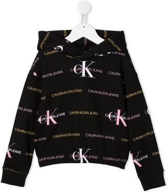 Calvin Klein Kids All-Over Logo Hoodie
