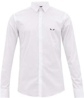 Fendi Bag Bugs Eye-embroidered Cotton-blend Shirt - Mens - White