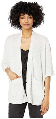 BB Dakota Brushed Waffle Dolman Cardigan with Back Smocking (Light Heather Grey) Women's Clothing