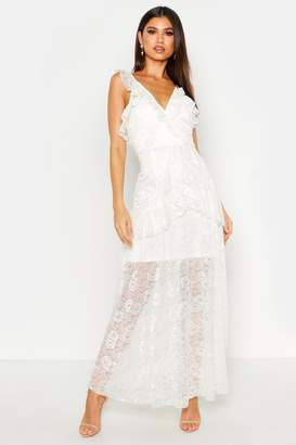 boohoo Lace Maxi Frill Layer Dress