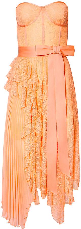 Alice + Olivia Bree Ruffle Pleated Handkerchief Dress