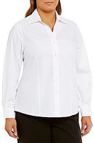 Investments Plus Long Sleeve Button-Front Embellished Collar Shirt