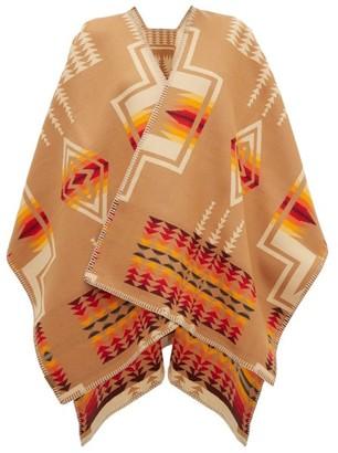 Pendleton Harding Geometric-jacquard Wool-blend Cape - Womens - Beige Multi