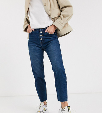 Only Petite straight leg jeans with button detail in blue