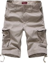 Roludom Men's Twill Cotton Loose Fit Multi Pocket Cargo Shorts