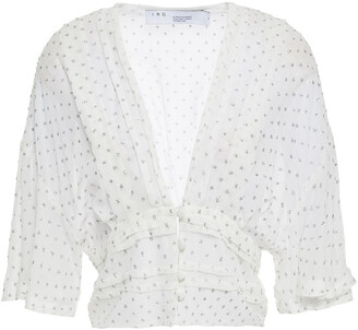 IRO Jucita Cropped Glitter-embellished Pleated Silk-georgette Blouse