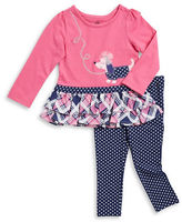 Kids Headquarters Girls 2-6x Tiered Puppy Dress and Leggings Set