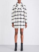 Alexander McQueen Dogtooth check tweed trapeze coat