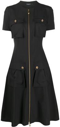Versace Medusa button zip-front dress
