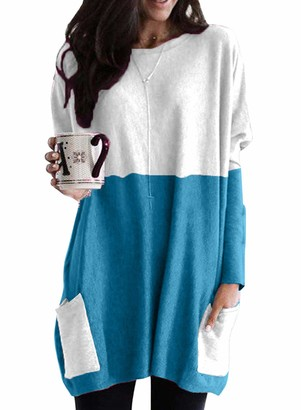 CORAFRITZ Women's Casual Long Sleeve Knitting Shirts Round Neck Color Block Pocket Tops Blouse Tunic Long Pullover Striped Splicing Knitted Sweater Loose Fit Jumper Sky Blue