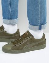 Puma Basket Tech Sneakers In Khaki 36316302