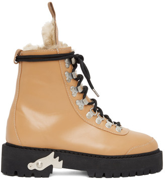 Off-White Beige Shearling and Leather Hiking Boots