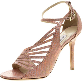 Jimmy Choo Salmon Pink Holographic Effect Embossed Snakeskin Leather Florry Asymmetric Strappy Sandals Size 36.5