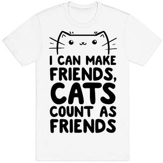 Look Human Tee Shirts White - White 'Cats Count ass Friends' Tee - Adult