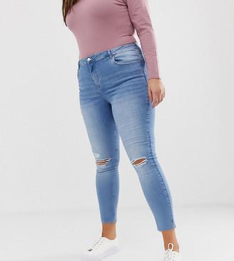 Urban Bliss Plus high waist skinny jean with distressed hem detail