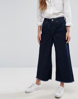 Only Wide Cropped Jeans with Raw Hem
