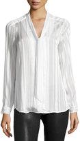 5Twelve Tie-Neck Tonal-Stripe Blouse, Ivory