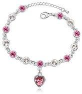 Move&Moving Silver Swarovski Elements Crystal Diamond Accent Heart Shape Bracelet Bracelets for women teenage girls kids children, with a Gift Box, Ideal Gift for Birthdays / Christmas / Wedding-, Model: X17739