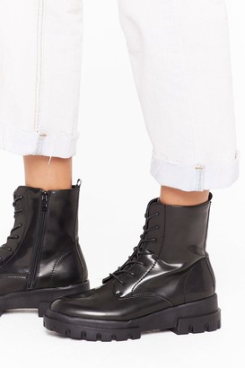 Nasty Gal Womens Don't Work So Hard Faux Leather Boots - Black