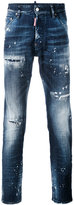 Dsquared2 - distressed slim-fit jeans - men - Cotton/Leather/Polyester/Spandex/Elastane - 50