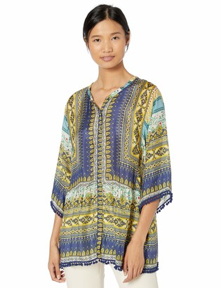 Johnny Was Women's Printed Boho Scarf Blouse