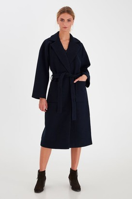 Ichi Long Single Button Coat In Navy - 42